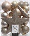 Decoris kerstballen pakket - Met piek - 33 stuks - Champagne