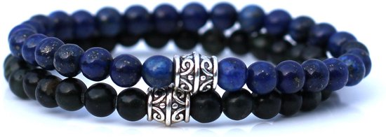 FortunaBeads Basic Set Blauw Lapis Lazuli / Groen Jasper Armbanden – Heren – Natuursteen – Large 20cm