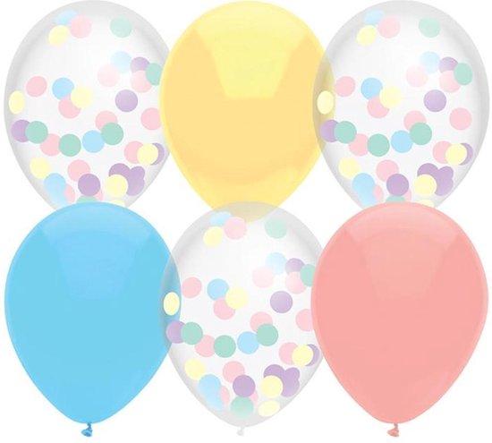 Ballonnen - Pastel mix confetti 6 stuks