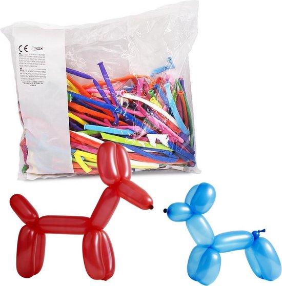 100 Modelleer Ballonnen - Assorti kleuren - 150cm - Rood / Geel / Blauw / Paars / Wit / Licht en donker Groen / Roze - Lange ballonnen / Figuur ballonnen