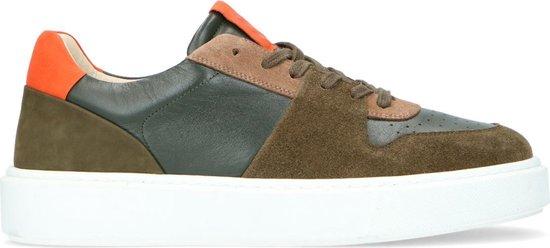 Sacha - Heren - Groene leren sneakers met oranje details - Maat 41