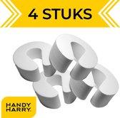 HANDY HARRY® Deurstoppers – 4 stuks - Wit - Deurklem - Kinderbeveiliging Deur - Deurvastzetter - Deurwig