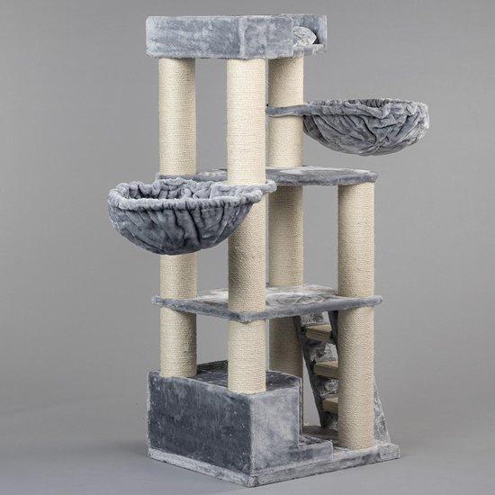 RHRQuality Corner Coon Krabpaal Voor Grote Katten - 60 x 56 x 151 cm - Licht Grijs