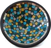 Floz mozaiekschaal - Turkse kleur mix - glasmozaiek en aardewerk - 25 cm - fairtrade uit Indonsië