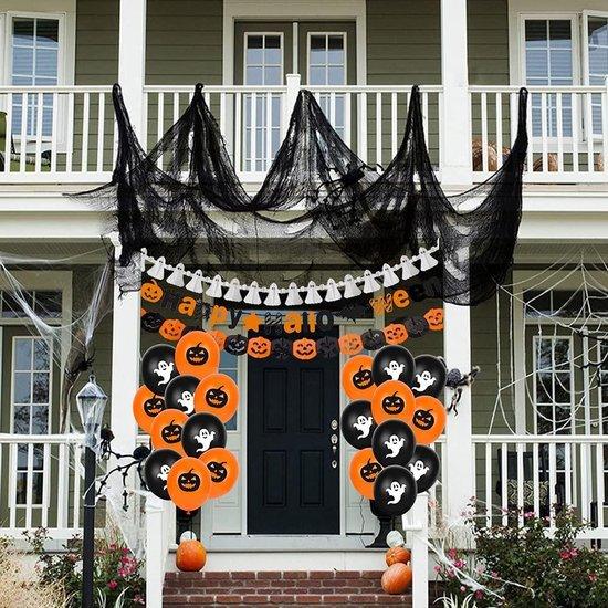 KIARA Bluelves Halloween decoratie, XXL Halloween ballonnen, griezel-decoratieset, Halloween slinger, pompoen ballonnen, spinnen ballonnen, pompoen geesten ballonnen ter decoratie van huis, Halloween tuindecoratie