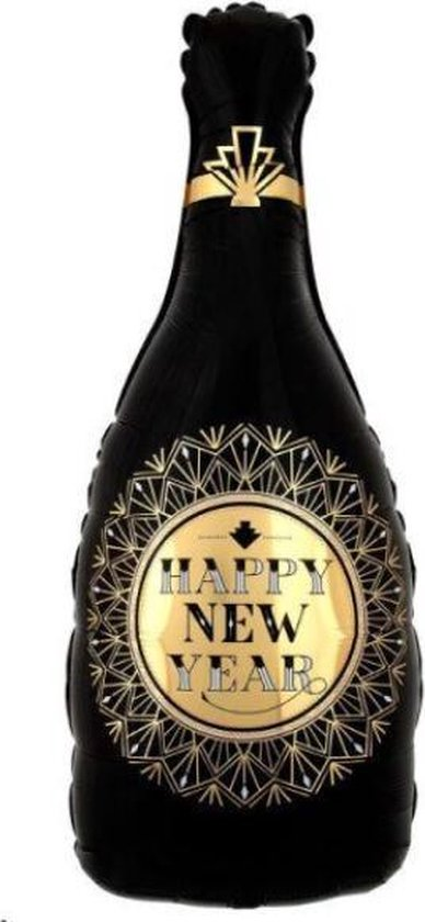 Happy New Year Fles Ballon - XL - Champagne - 2022 - Nieuw Jaar - Oud en Nieuw - Ballonnen - Helium Ballon - Folie Ballon - Oudjaarsavond - Thema feest - Dranken - Folie ballon - Leeg - Versiering