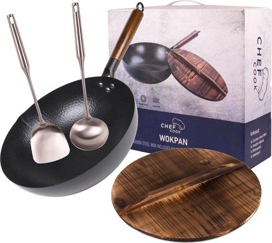 Wokpan met deksel inductie 32 cm wokken wokset wok woklepel spatel wok - Ø 32...
