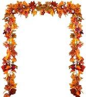 Herfst Decoratie   Herfstslinger   Herfstbladeren   2 Stuks   Halloween   Feestdecoratie   Sfeerslinger   1.7 Meter   Oranje, Rood, Groen