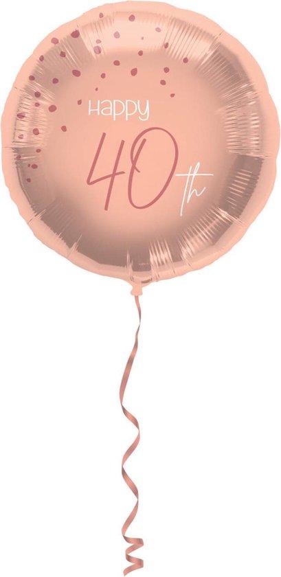 Folieballon - 40 jaar - Luxe - Roze, roségoud, transparant - 45cm - Zonder vulling