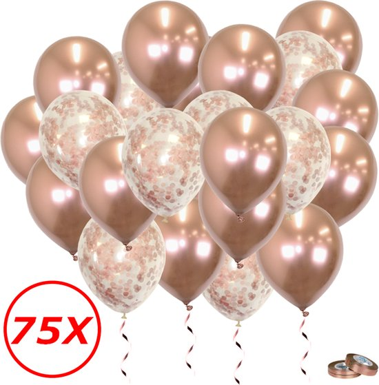 Verjaardag Versiering Helium Ballonnen Feest Versiering Decoratie Confetti Ballon Bruiloft Rose Goud - 75 Stuks