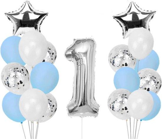 Verjaardag Versiering Ballonnen Set 1 Jaar Jongen  - 21 stuks