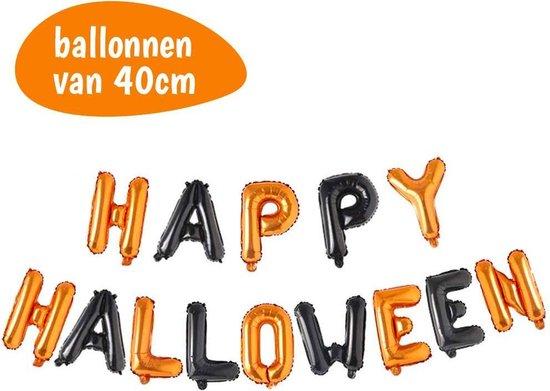 Folie ballonnen - Halloween Decoratie - Happy Halloween - Letter Slinger - Horror - Helloween - Feest Versiering - Zwart - Oranje