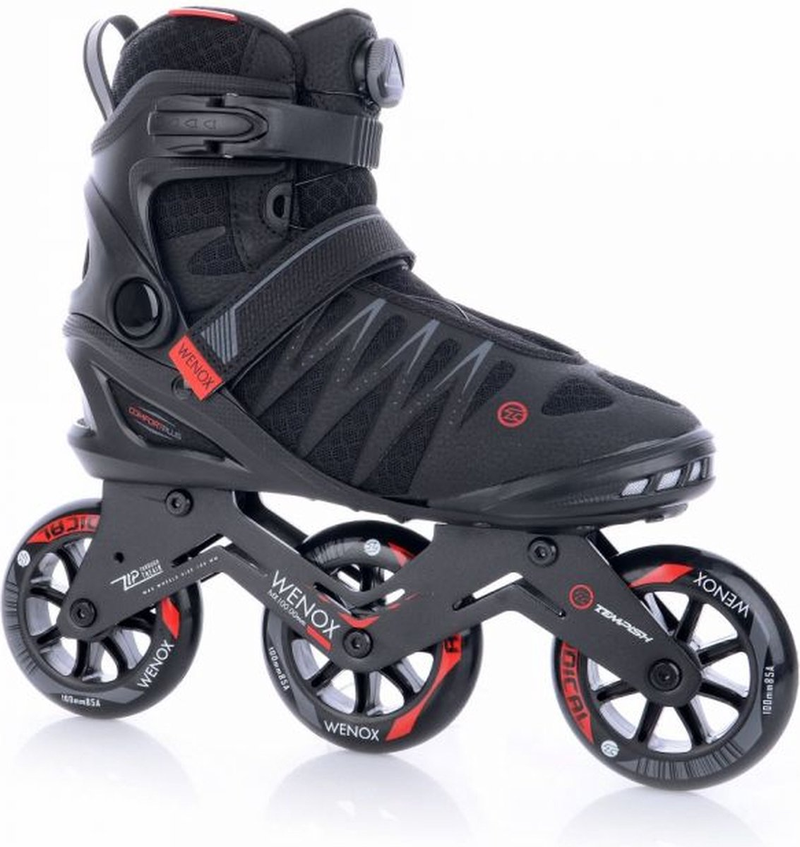 Tempish - Skeelers - Wenox - Top 100 - Zwart/Rood - Maat 45 - Heren - Skates