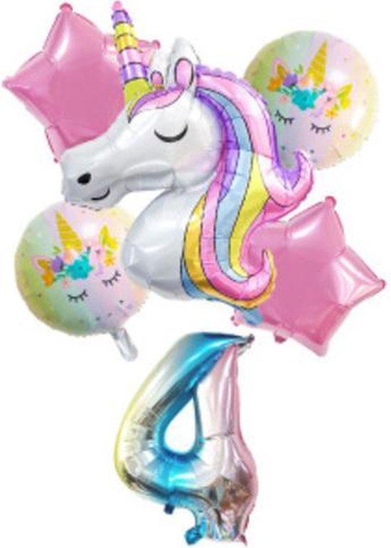 Unicorn Ballonnen – 6-Delige Folieballonnen Set – Cijfer 4