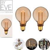 BY EVE G95 LED Filament - Champagne - Sfeerverlichting - Glasvezel - Dimbaar - A++ - Ø 95 mm - E27 - 3,5 W - 120 lumen - Vintage Ledlamp - Sfeerlamp