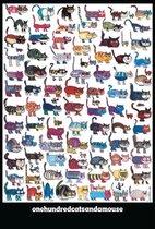 100 cats and a mouse katten en een muis kunst poster 61x91.5cm.