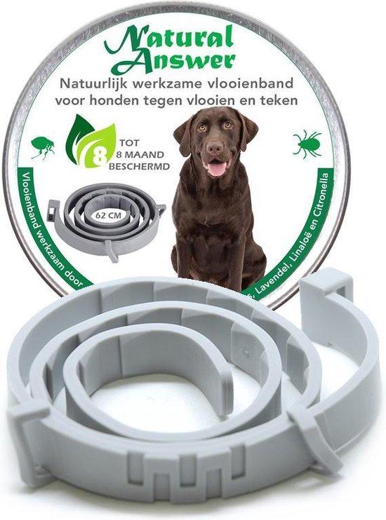 Teken- en Vlooienband voor honden - Natuurlijk middel tegen vlooien - Werkzaam door etherische oliën -  62 CM - Tot 8 maand werkzaam - Biologisch