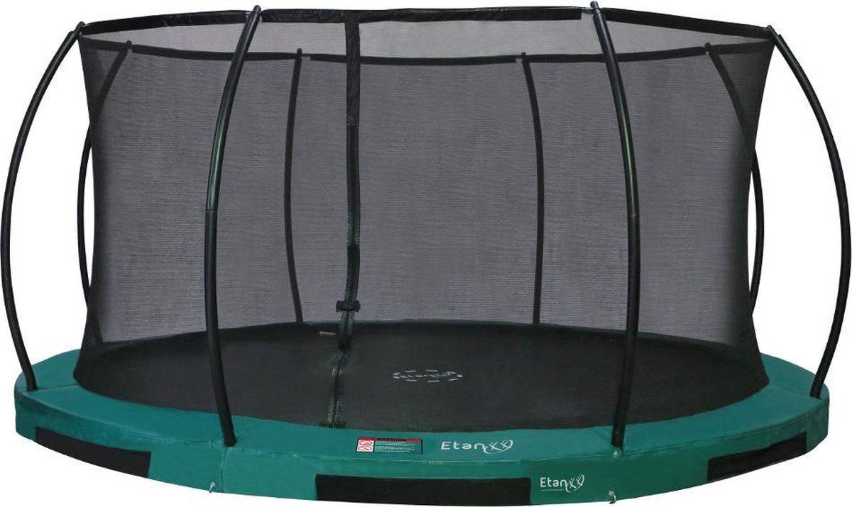 Etan Hi-Flyer 14 Combi Inground Trampoline set - Ø 427 cm - incl. Veiligheidsnet - Uv- bestendig Randkussen - Groen - Rond