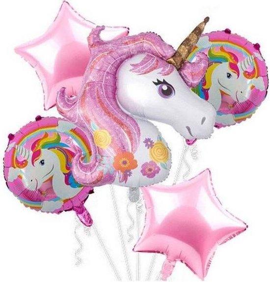5 stuks helium ballonnen unicorn - eenhoorn