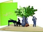 Popcards popupkaarten –  Jazz band live music Muziek Vleugel Trompet Saxofoon Contrabas Boom Trio Team pop-up kaart 3D wenskaart
