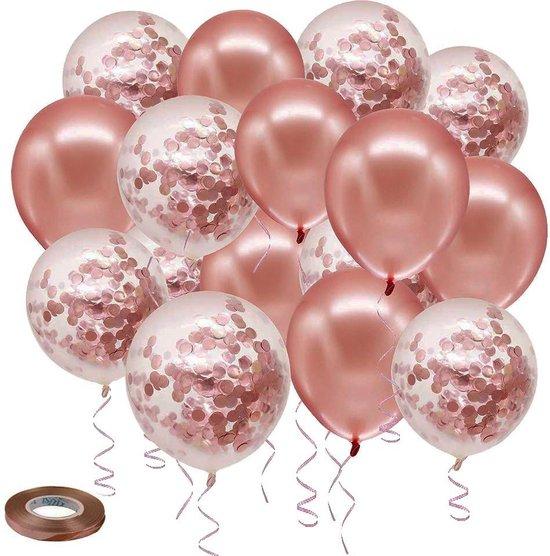 Confetti Ballonnen Set - Rosé Goud - 18 Stuks - Incl. Goud Krullend Lint - Ideaal Voor Baby Shower, Bruiloft, Verjaardag, Feestje