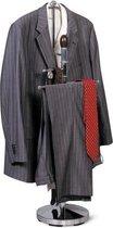 Luxe Dressboy Kleding Standaard - Staande Kledingstandaard Met Jas & Broek Houder & Stropdas Clips - Verchroomd Staal Met Hout - 111cm