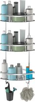 3 Laags Telescopisch Doucherek - Incl. Schroeven & Lijm - Aluminium - Hoek Model - Draakracht tot 22 KG - E-Shoppr®