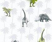 DINOSAURUS BEHANG - Groen Grijs - Kinderkamer - AS Creation Little Stars