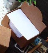 100 mini witte kaartjes in bewaarboxje - kleine blanco kaartjes