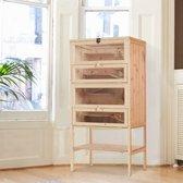 XL Houten Hamster & Muizenkooi - Knaagdieren Kooi - Voor Binnen - 4 Verdiepingen - L60 x B40 x H120 CM