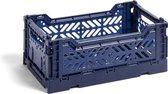 HAY Colour Crate S Navy Blauw Vouwkrat L26.5 * B17 * H10.5 Set van 6 stuks