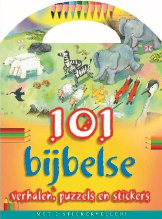 Cover van het boek '101 bijbelse verhalen, puzzels en stickers  + 2 Stickervellen' van Bethan James