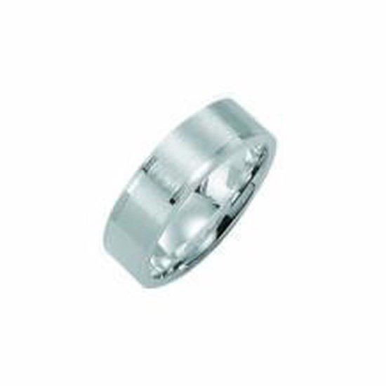 Kiss Me ring zilver mat met hoogglans elementen KM121 maat 50