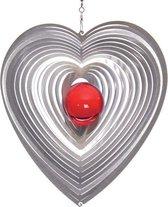 BlinQ Art Windspinner Hart RVS - 152x147mm - Glaskogel 35mm rood