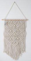 Muurdecoratie - macrame - macramé - counrtyfield - crème - 60 cm - handgemaakt - knopen - touw - wanddecoratie