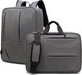 Laptoptas 2-in-1 voor 17.3 inch laptop - laptop rugtas / laptop schoudertas – grijs 2