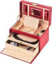 Treasury Classic Sieradendoos - Luxe Juwelendoos met spiegel - Opbergbox kunstleder - Classic Rood