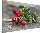 Cranberry's op een tak Canvas 180x120 cm - Foto print op Canvas schilderij (Wanddecoratie woonkamer / slaapkamer) XXL / Groot formaat!