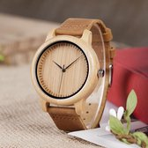 DVSE   Natural Bamboo Houten Unisex Horloge - Lichtbruin leer