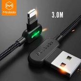 MCDODO Onbreekbare iPhone Lightning USB Kabel - 3 Meter - Apple - 2x Sneller Opladen - 90° Design