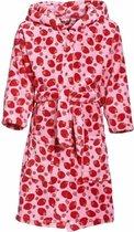 Roze badjas/ochtendjas met aardbeien print voor kinderen. 122/128 (7-8 jr)