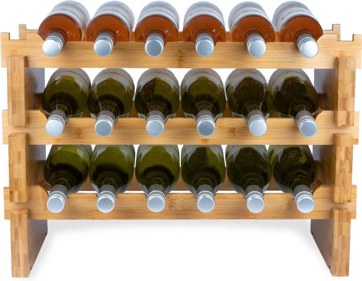 KitchenBrothers Bamboe Wijnrek Voor 18 flessen - 3 Delig Stapelbaar Bamboo Flessenrek - 58,5 x 28,5