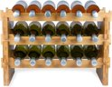 KitchenBrothers Bamboe Wijnrek Voor 18 flessen - 3 Delig Stapelbaar Bamboo Flessenrek - Blank Hout