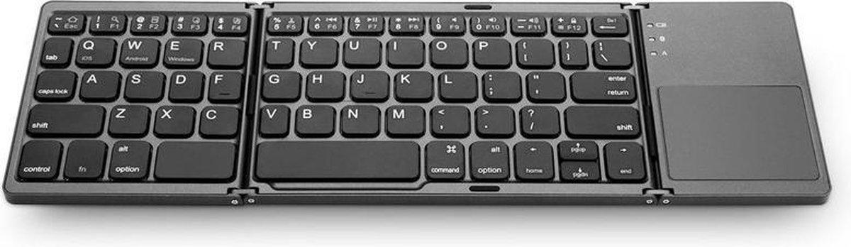 Universeel Draadloos Opvouwbaar Inklapbaar Toetsenbord met Touchpad Inclusief Draagtas Bluetooth Keyboard Voor Tablet (Windows) PC Apple