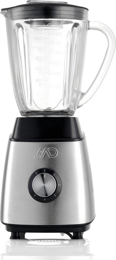 MD Homelectro MSB-1104 Stijlvolle RVS Blender met glazen kan (1,6 L) en ijscrusher - 600 W