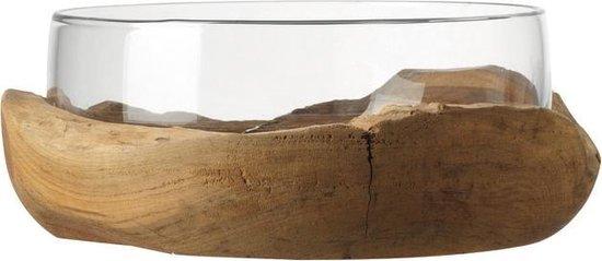 Leonardo Sidestep Schaal met Teak Houten Onderkant - 30 cm