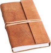 One World Interiors Natural – Notitieboek – Reisboek – Groot – Licht bruin - Buffalo leer