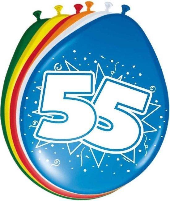 8x stuks Ballonnen versiering 55 jaar