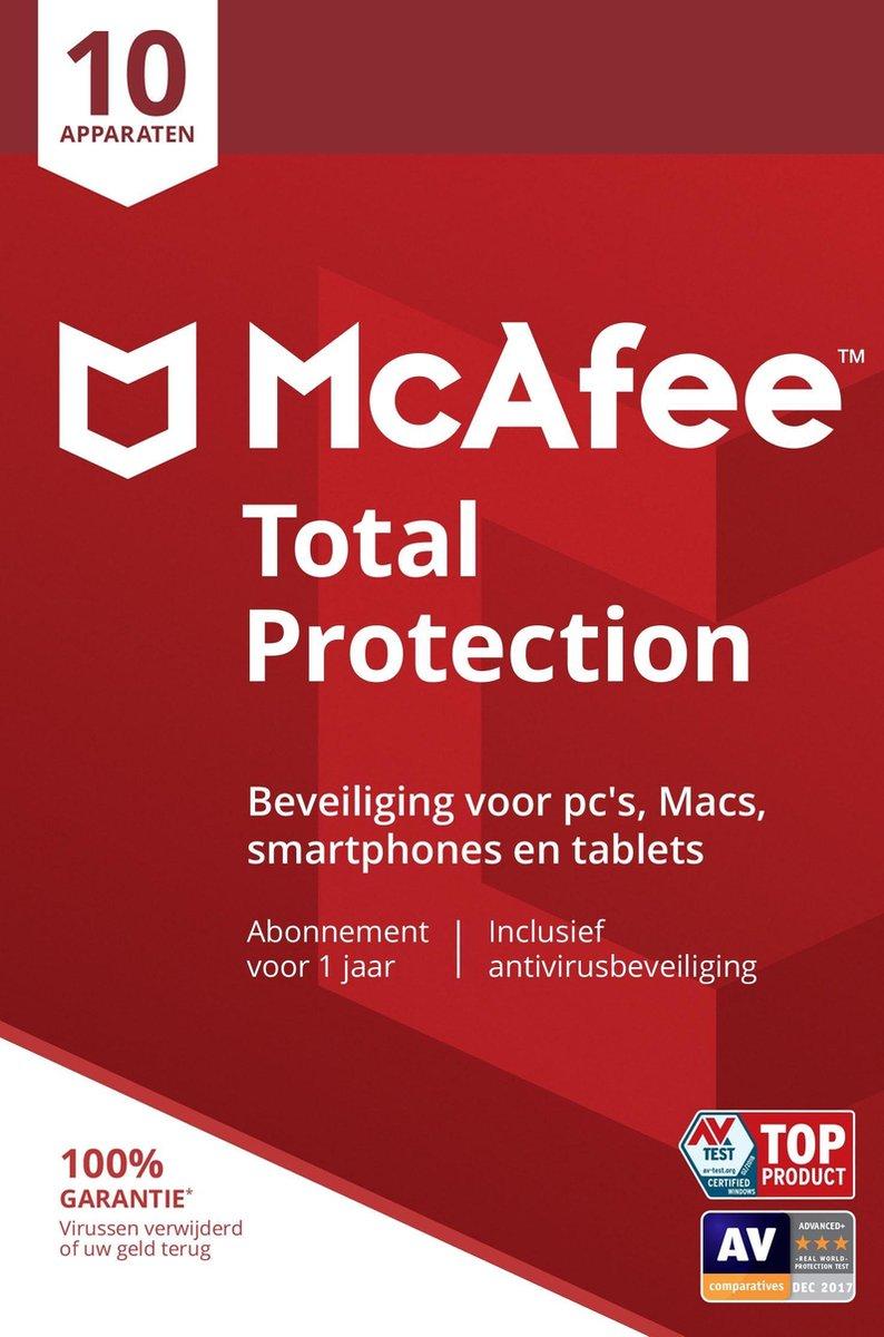 McAfee Total Protection - Multi-Device - 10 Apparaten - 1 Jaar - Nederlands - Windows / Mac Download