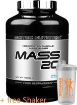Scitec Nutrition - Mass 20 - High-protein muscle mass gainer - 4000 g  - 80 porties - poeder - Strawberry + sportandmore shaker